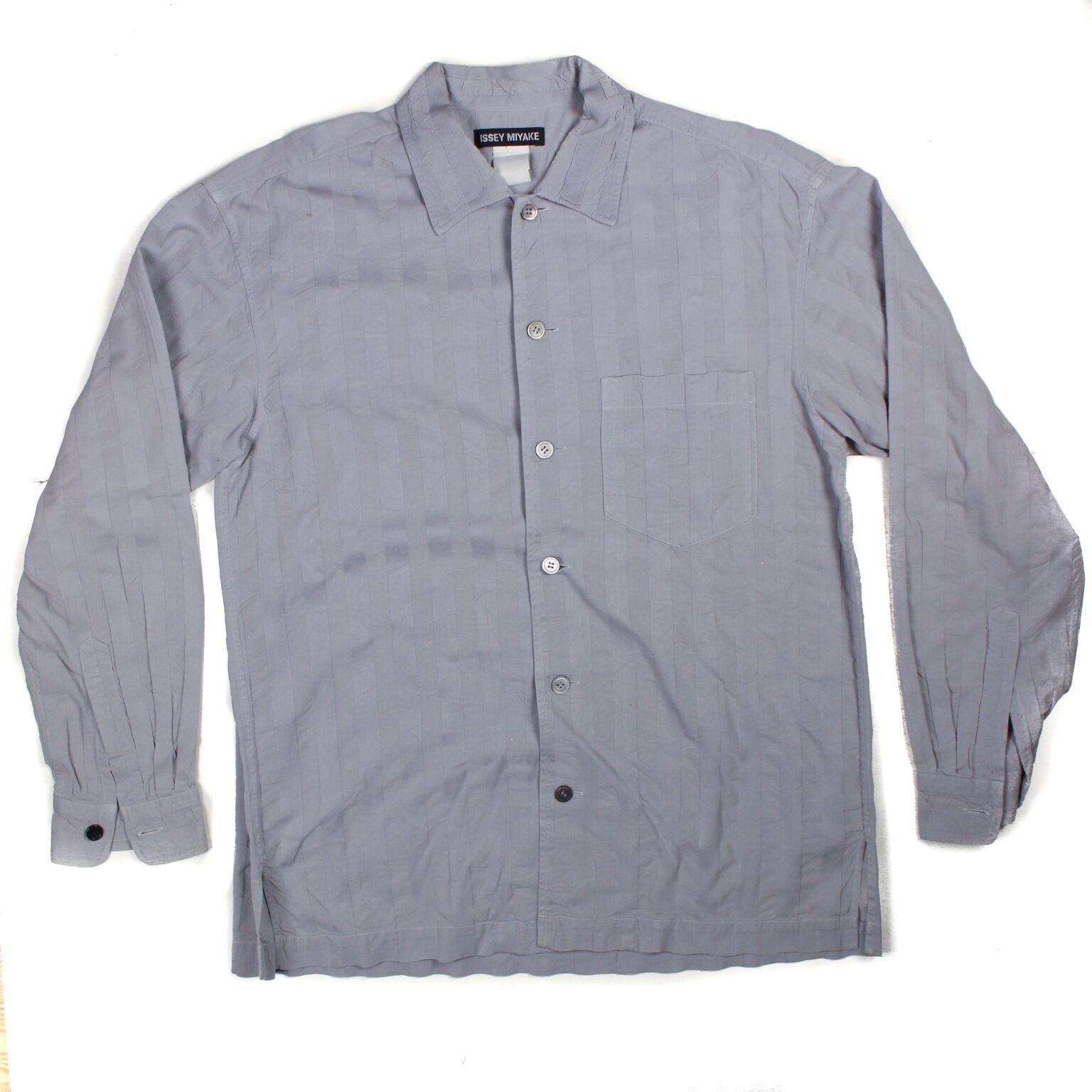 Issey Miyake - Long Sleeve Button Down Shirt - grau Stripe Quilting - 4 - Medium