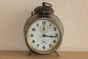 Vintage Metal Clock Made In Germany Working Rare Mauthe - 4'' in diameter