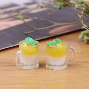 1Pc 1/12 Dollhouse Miniature Food Mini Resin Mango Milk Cup Drinks Model T mi