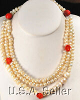 3 Strands Natural White Pearl & Red Coral Antique Silver Necklace 21