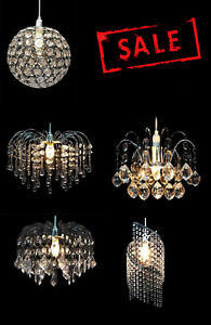 Modern-Ceiling-Pendant-Light-Vintage-Lamp-Shade-Acrylic-amp-Crystal-Drop-Chandelier