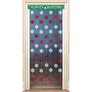 Snowflake-Foil-Door-Decoration-Holiday-Party-Supplies-Christmas-Decor-Red-Winter
