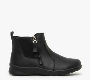 Dr-Keller-LILY-Ladies-Womens-PU-Leather-Inside-Zip-Casual-Ankle-Boots-Black