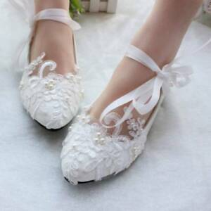 0aa20c4bbe90 Lace Flat Wedding Shoes Pearls Bridal Shoes Ankle Strap Flats Heels ...