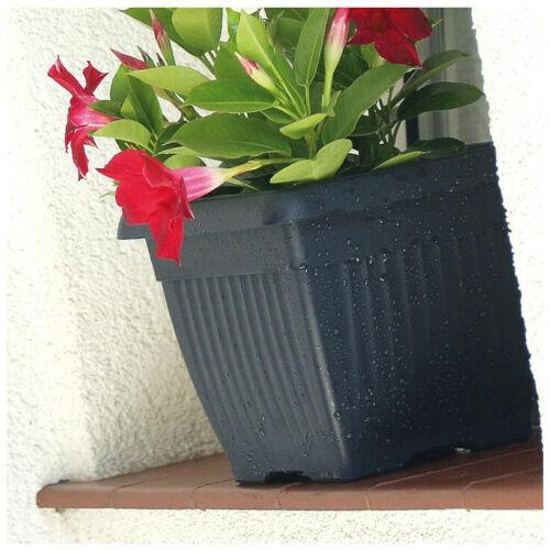 Blumenkübel Blumentopf mit Untersetzer quadratisch anthrazit terrakotta 6 Größe