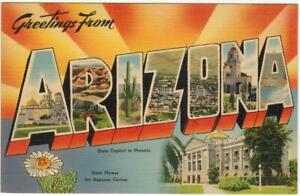 Greetings-From-Arizona-State-Capital-Big-Letter-PC-Circa-1940-COLOR-LINEN-unused