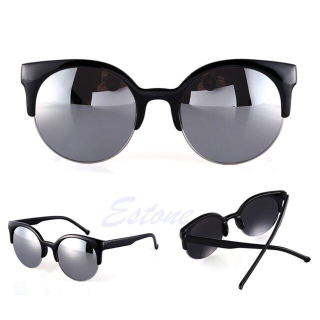 Fashion Retro Vintage Oversized Cats Eye Sunglasses Round Black Unisex Designer