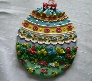 Used-Hand-Painted-Plaster-Egg-Wall-Hanging-Flower-Pattern-Blue-Yellow-Green-Pink