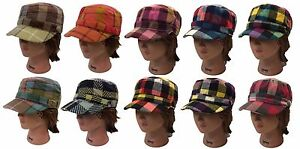 4f49db6e316 Ladies Men Cadet Cap Army Military Fashion Castro Hat Cap-Plaid ...