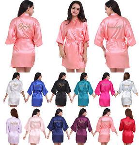 Women Satin silk robes Wedding Robe Bridesmaid Bride maid of honor ...