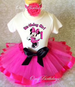 ad10408bd Minnie Mouse HOT PINK Black Baby Girl 1st First Birthday Tutu Outfit ...