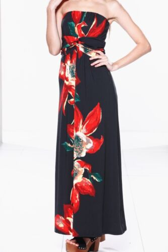 Small £26.00 size NEW Black /& Red Floral Bandeau Strapless Maxi Dress Gown