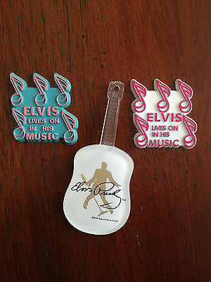 LOT OF 3 ELVIS PRESLEY REFRIGERATOR MAGNETS GUITAR LIVES ON IN HIS MUSIC