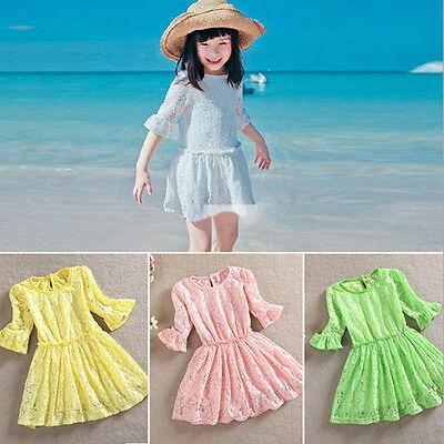 2014 Kids Girls Toddlers Princess Lace Flower Summer Beach Full Dress Skirts
