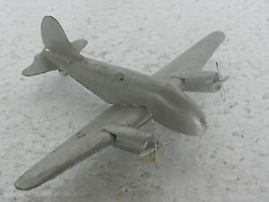 Vintage-Argento-Colore-Litho-Aeroplano-Metallo-Giocattolo