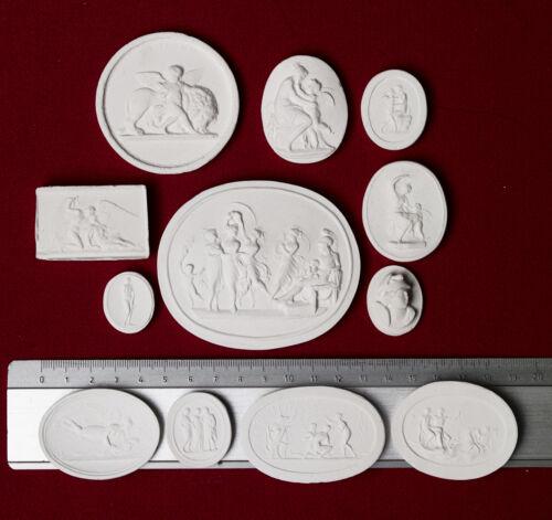 15 BIG Grand Tour Cameos plaster intaglio Gems Medallions seals Impronte #3