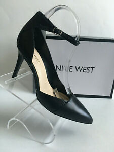 NINE-WEST-FORGIVENO-Black-Leather-High-Heel-Ankle-Strap-Classic-Shoes-US-Sz-10M