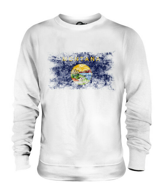 MONTANA STATE DISTRESSED FLAG UNISEX SWEATER TOP MONTANAN SHIRT JERSEY GIFT
