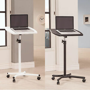 White-Black-Adjustable-Height-Small-Moving-Casters-Computer-Table