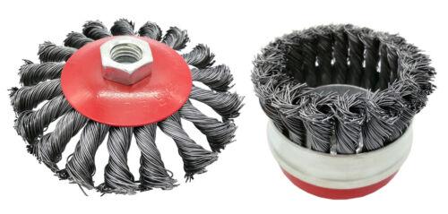 Tapered Brush 85 /& 100 mm Pot Brush 65 /& 85 mm Angle Grinder Wire Brush 125