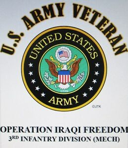 OPERATION IRAQI FREEDOM* 3RD INFANTRY DIVISION *ARMY VETERAN W/ARMY EMBLEM*SHIRT