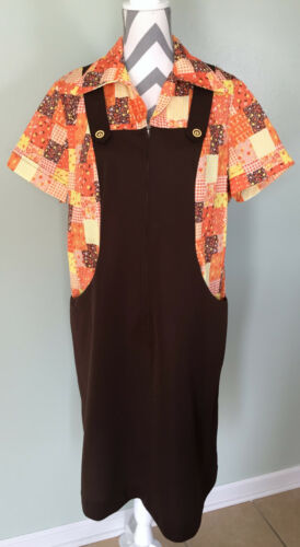 Vintage 70s Brown Overall Polyester Patchwork Jump