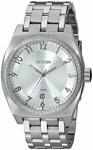 Nixon-Women-039-s-A325-1874-00-Monopoly-40mm-All-Silver-Crystal-A3251874