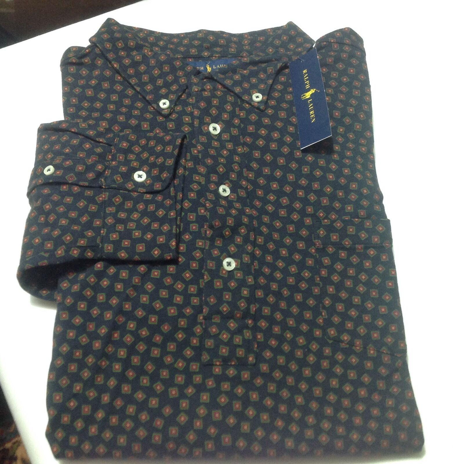 Polo Ralph Lauren Men Big And Tall Printed Popover Shirt Top 2LT Navy bluee