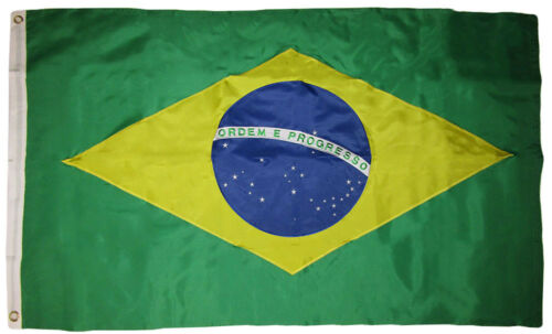 3x5 Embroidered Sewn Brazil Country Premium Quality Nylon Flag Clips RAM