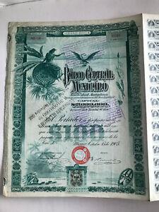 Aktie, Banco Central Mexicano, 100 $, Von 1905 NüTzlich FüR äTherisches Medulla