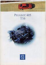 Peugeot 405 T16 1993 French Market Foldout Sales Brochure