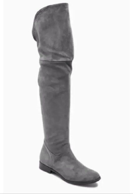 New NEXT  Größe 5 (38 EU) GREY OVER SUEDE LEATHER OVER GREY KNEE LONG Stiefel  BNWT 962a65