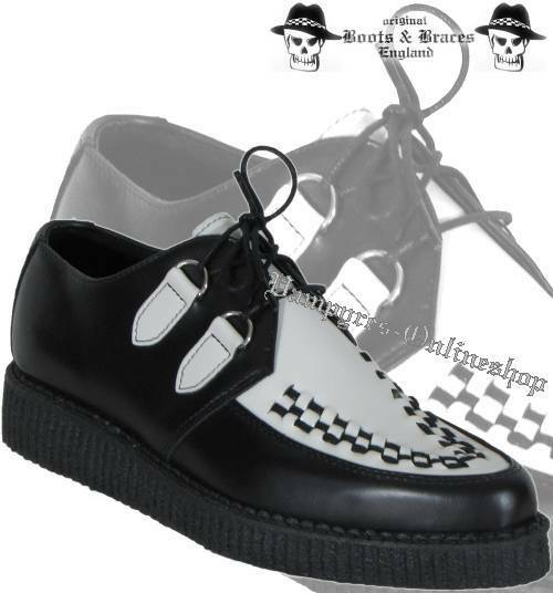 botas & Braces Creeper Negro / / / Weiß Creepers Leder And Zapatos 2-Colour Noir 58331f