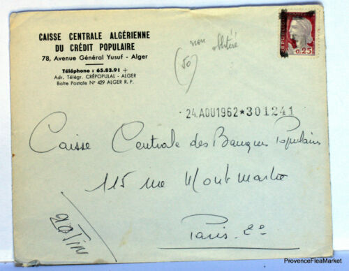 LETTRE  ALGERIE SURCHARGEE EA 1962 NON OBLITERE  EA99