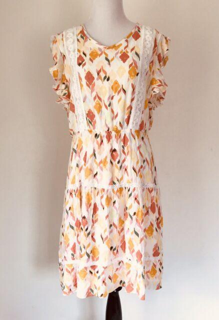 Lauren Conrad Womens Dress Large Short Sleeve Floral Elastic Waist Below Knee L
