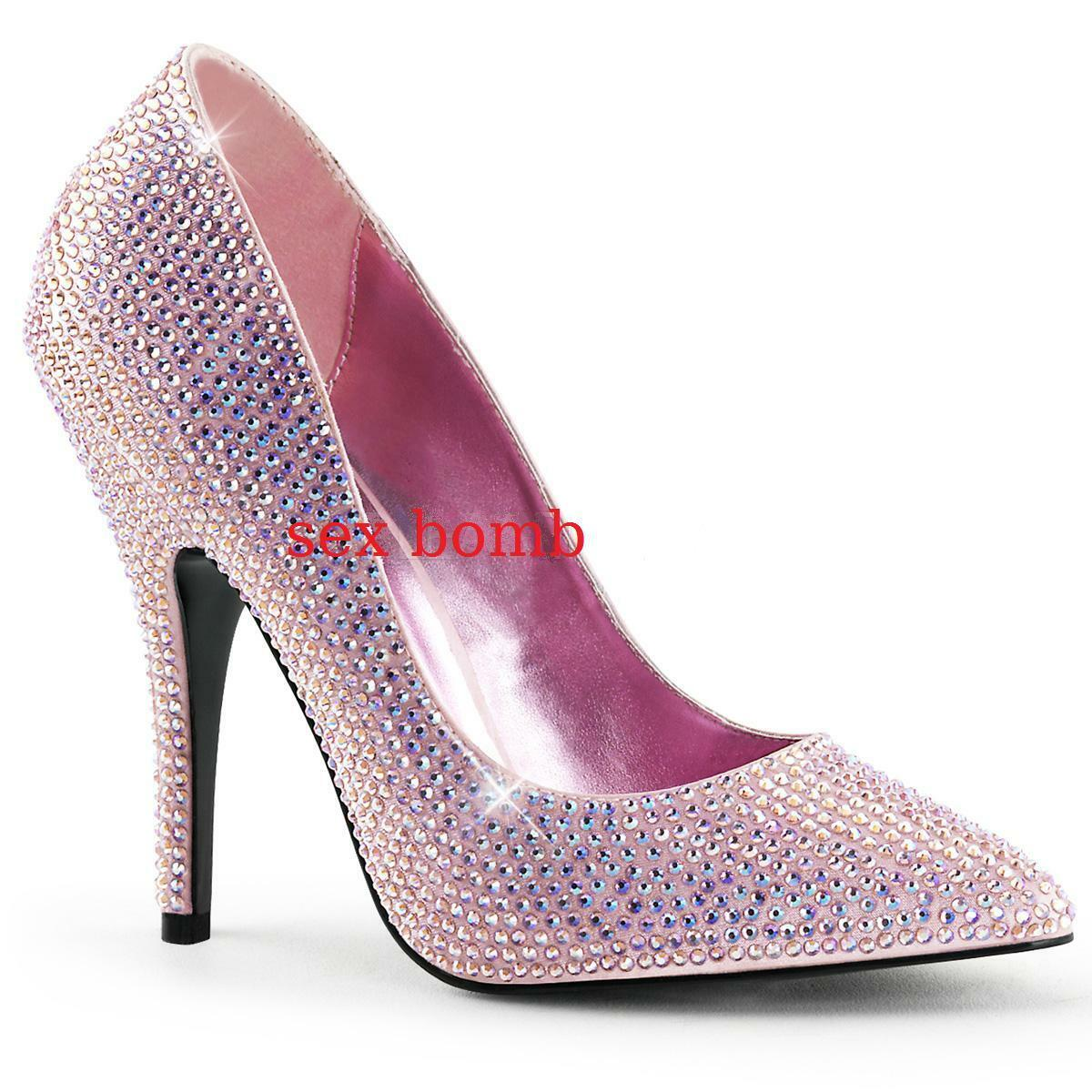 SEXY scarpe decolte raso STRASS tacco 13 cm ROSA BABY dal 35 al 41 GLAMOUR