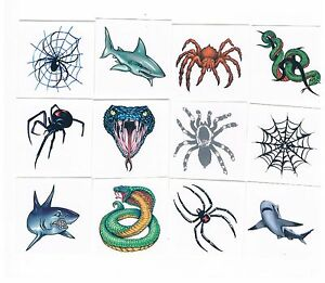 12-x-Assorted-Sharks-Snakes-amp-Spiders-Temporary-Tattoos-Kids-Party-Favours