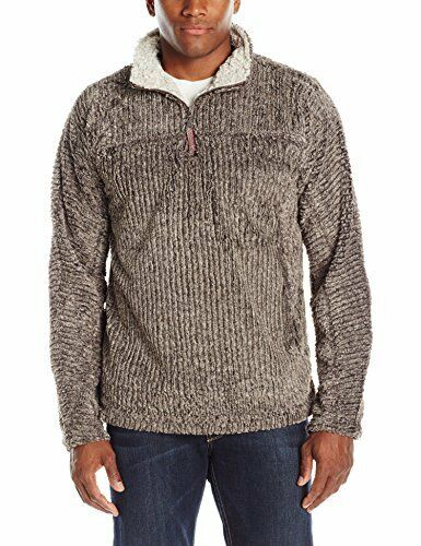 True Grit   Herren True Grit Frosty Cord Pile 1/4 Zip Pullover Sweater Braun XS