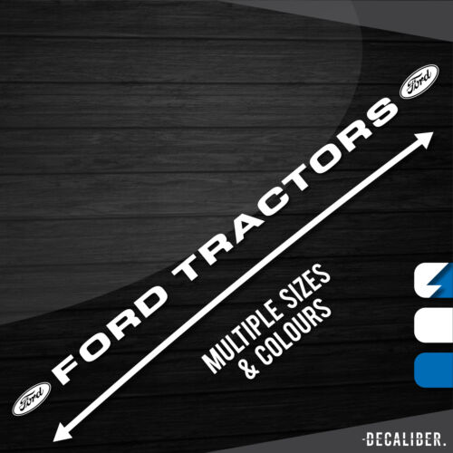 Multiple Sizes /& Colours Long Ford Tractors w// Badges Both Sides Sticker Decal