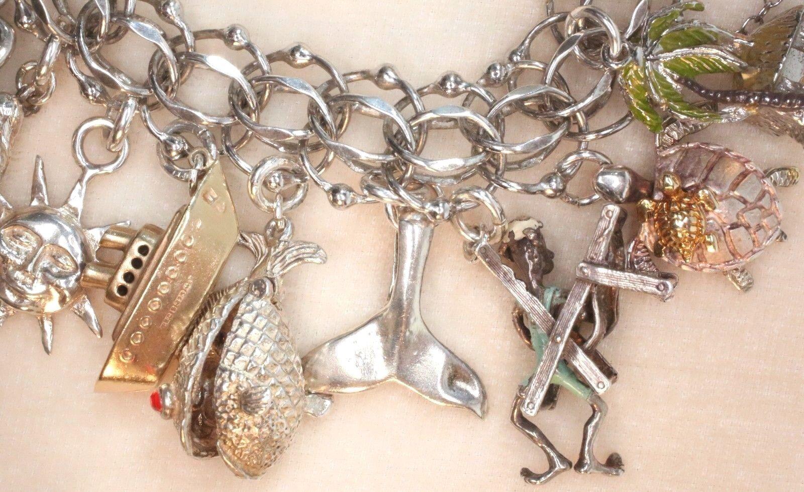 Vintage gold Sterling Nautical Beach 22 Charm Bracelet Rare Enamel Movable