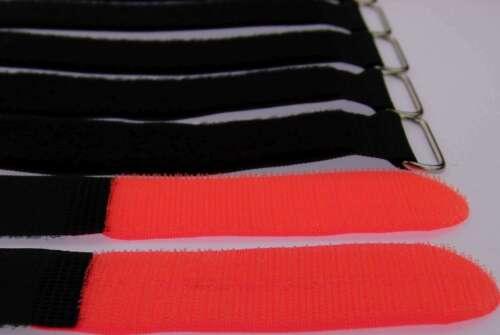 30 x Kabelklettband 50 cm x 50 mm neon rot Klettband Klett Kabel Binder Band Öse