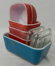Vintage 8 pc. Set of Pyrex Glass Refrigerator Dishes Red & Blue Ramikins Square