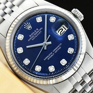Montre Sur 18k Or Détails Datejust Diamants Inoxydable Bleu Cadran Acier Homme Rolex Blancamp; ymNOPnv0w8