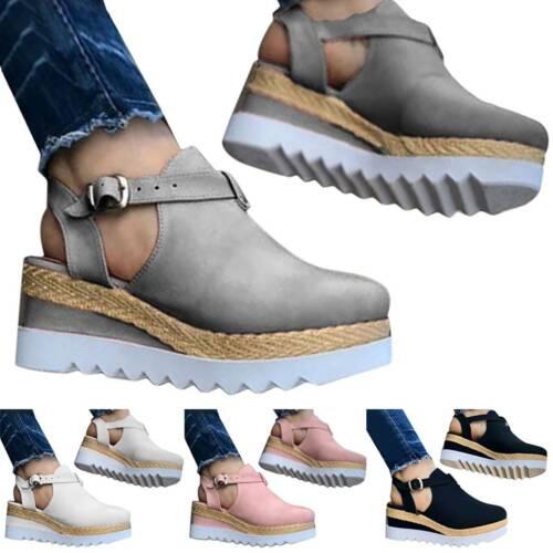Details about  /Women Block Shoes Ankle Strap Sandals Close Toe Platform Flat Wedge Casual Shoes