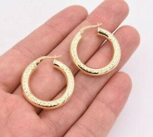 1-25-034-30mm-Diamond-Cut-Round-Tube-Hoop-Earrings-Yellow-Gold-Clad-Silver-925
