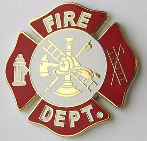 FIREFIGHTER FIRE FIGHTER DEPT MEDALLION SHIELD EMBOSSED LAPEL PIN BADGE 1 INCH