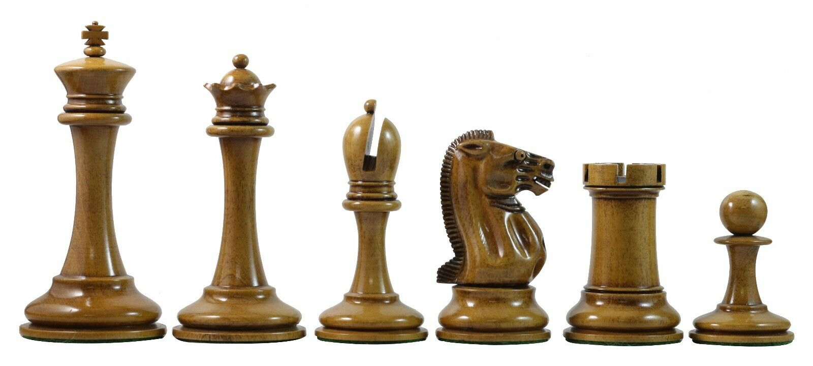 B & Company Reproduction Distressed Antiqued Staunton 4.4  Ebony Chess Pieces