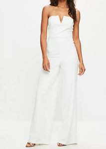 5287ed53cb5 Image is loading MISSGUIDED-white-bandeau-wide-leg-jumpsuit-M19-8