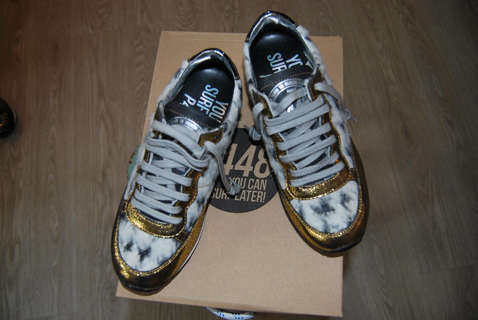 Sneaker donna da P UVP 448 ORO/Glitter/SCAMOSCIATA NUOVE CON SCATOLA UVP P 189,- 828804