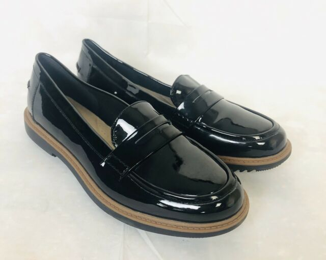 Clarks Collection Women Shiny Patent Leather Penny Loafer ...